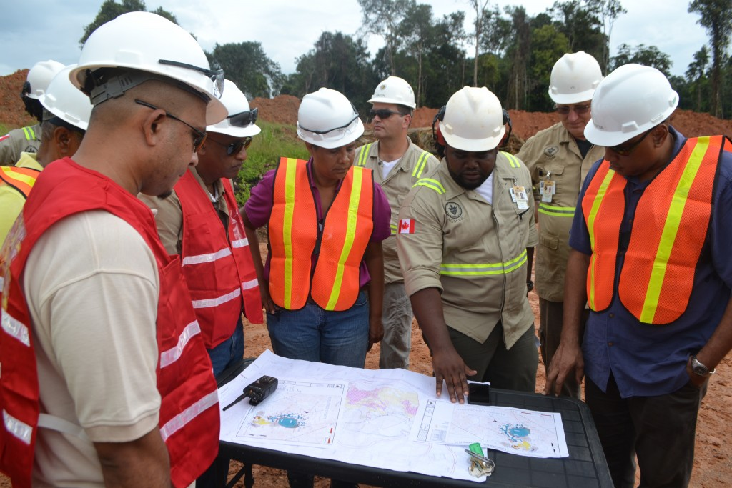 Minister of Governance Mr. Raphael Trotman and Team visiting the Guyana Gold Fields Incorporated, Aurora Gold Project and Troy Resources, Karouni Project, both in Region 7. (August, 2015)
