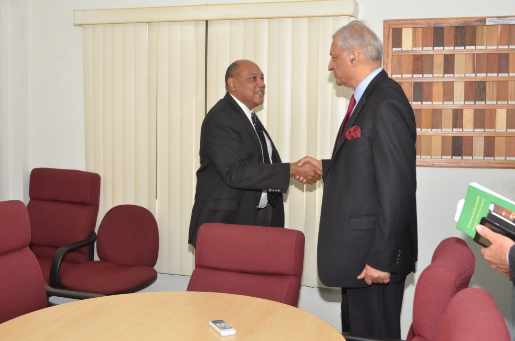 Minister of Governance, Raphael Trotman, with Secretary General of the Commonwealth, Kamalesh Sharma. (June 30, 2015)